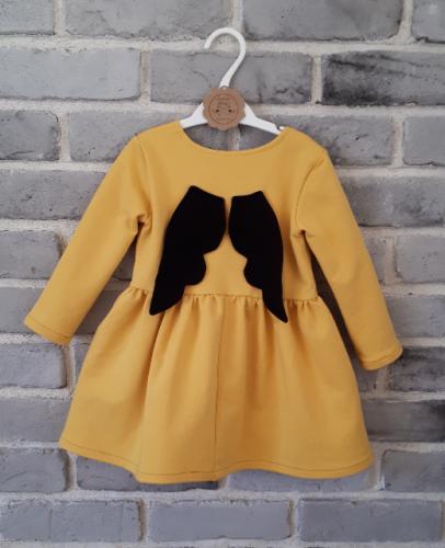 e2e57f373b Sukienka dla dziewczynki ze skrzydełkami odcień miętowo musztardowy ...
