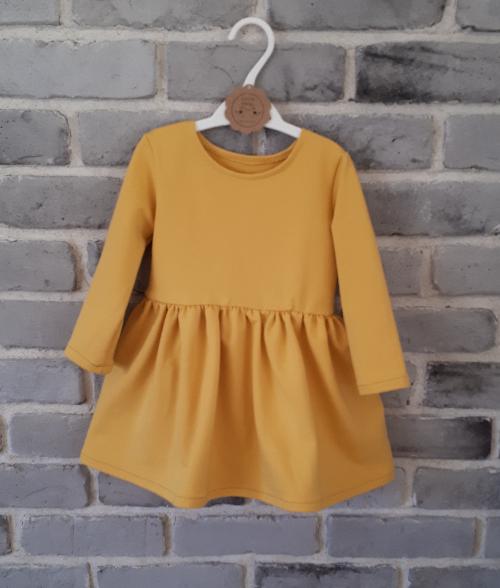 Sukienka dla dziewczynki musztardowa ze skrzydełkami