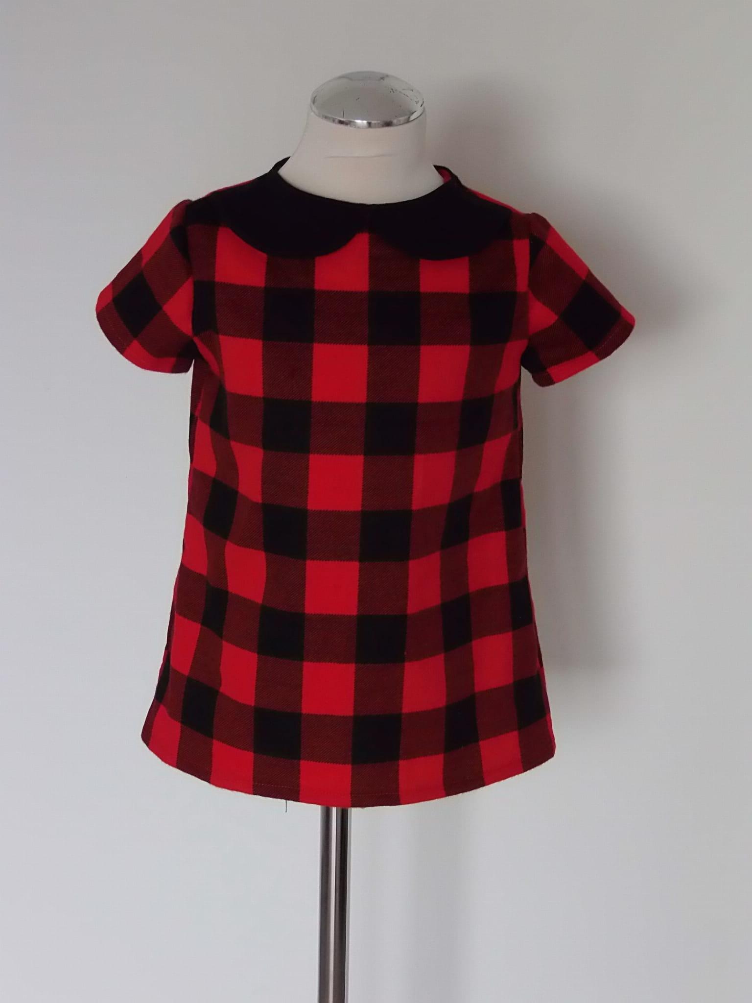 113873c2f8 Sukienka dla dziewczynki w kratkę z kołnierzykiem Sophie Design